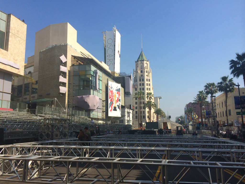 Oscars preparations Hollywood blvd