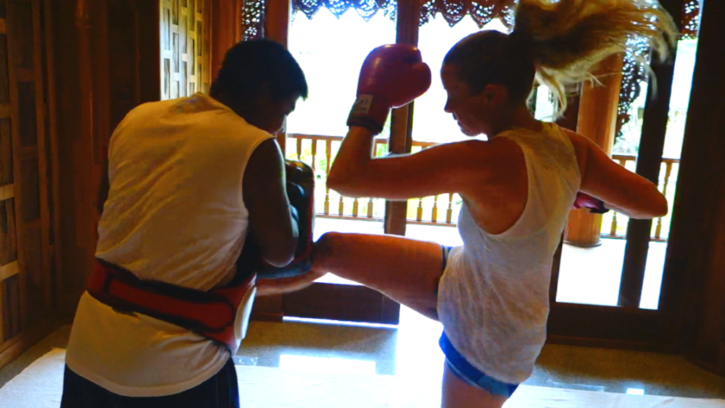 Merete Gamst thai boxing Santhiya Resort and spa