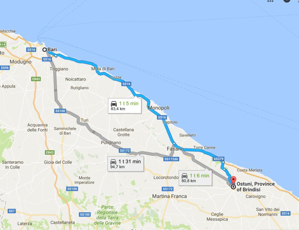 map bari italy