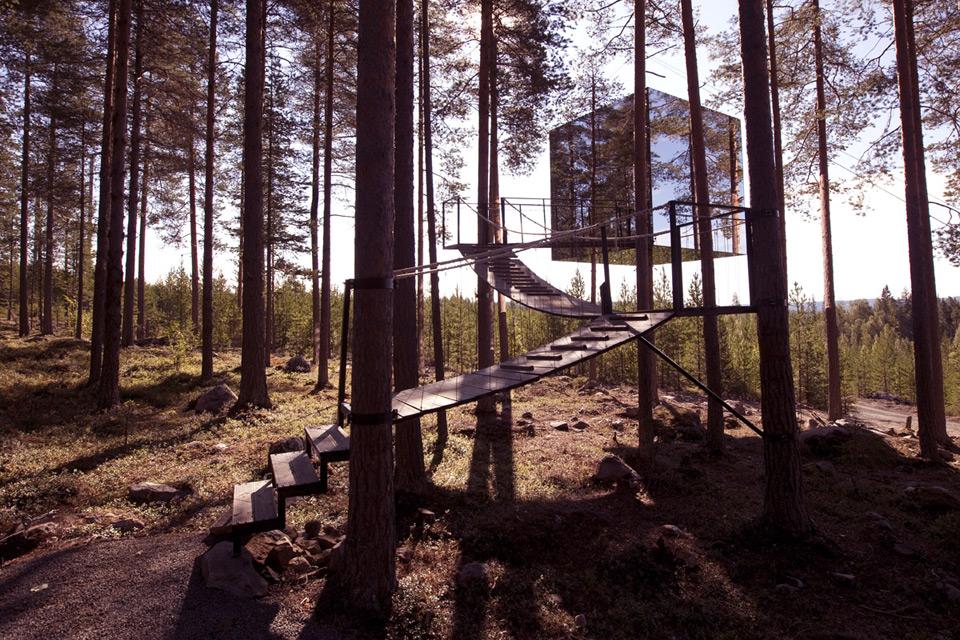 Sverige, mirror_cube trehus, positivista, merete gamst trehytte hotell_22a