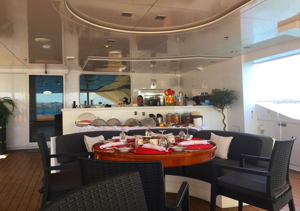 mega yacht food