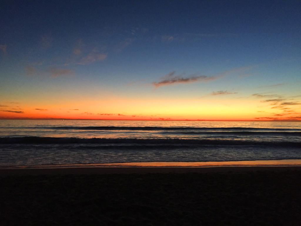 solnedgang santa monica beach