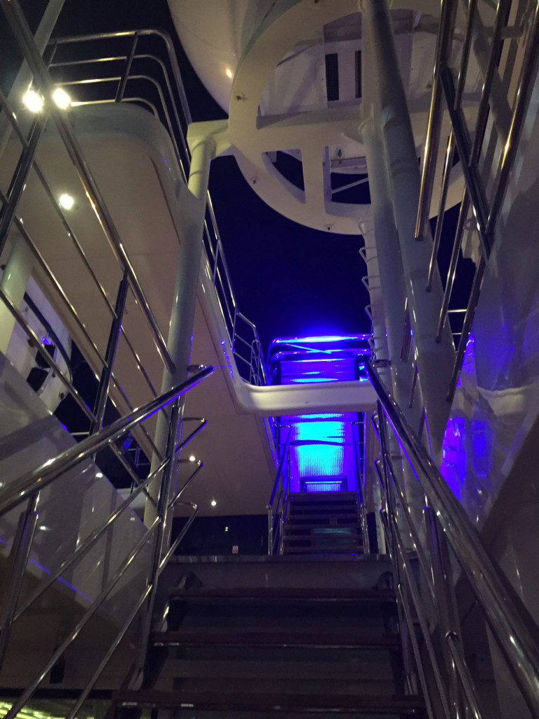 stair case mega yacht